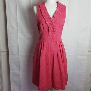 Taylor Sleeveless Fit & Flare Ruffle Pink Dress 12